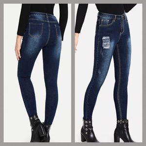 Dark Wash Raw Edging Ripped Stretch Skinny Jeans
